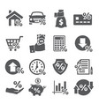 loan and credit icons on white background vector image vector image