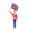 man waving the uk flag vector image vector image