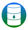 oil barrel sign white icon in bluish vector image