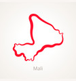 outline map of mali marked with red line vector image vector image
