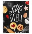 poster little sweet chalk vector image