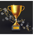 realistic golden champion cup isolated trophy vector image