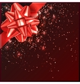 Red Christmas Bow with confetti on gift box vector image vector image