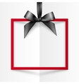 Red gift box frame with black silky bow and ribbon vector image vector image