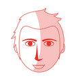 red silhouette shading cartoon front face man with vector image