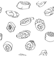 Seamless pattern sushi set vector image