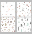 set with cute doodle seamless patterns vector image