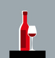 simple image a bottle wine and a glass vector image vector image