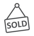 sold line icon real estate and home sale sign vector image vector image