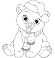 teddy bear in a hat and scarf vector image vector image