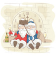 two cheerful santa claus vector image