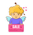 valentine s day sale banners with cute little vector image