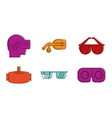 vr glasses icon set color outline style vector image vector image