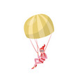 woman flying with parachute extreme hobby young vector image vector image