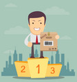 man stand on a pedestal and hold a carton box vector image