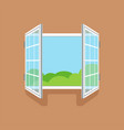 flat open window on brown wall vector image