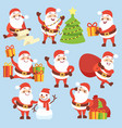 cartoon cute santa claus character set vector image