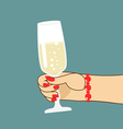 Womans hand with glass of champagne Woman holds vector image