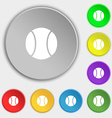 baseball icon sign Symbol on eight flat buttons vector image vector image