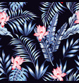 blue tropical leaves pink flowers black background vector image vector image