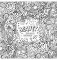 Cartoon doodles cosmetics frame design vector image