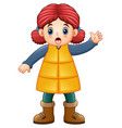 cartoon girl wearing winter clothes waving vector image vector image