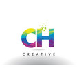 ch c h colorful letter origami triangles design vector image vector image