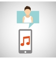 character caucasian smartphone music application vector image vector image