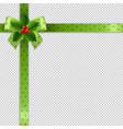 christmas ribbon with holly berry transparent vector image vector image