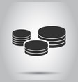 coins stack icon in flat style coin cash on white vector image