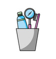 cup with toothbrush and toothpaste vector image vector image