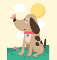 cute baby dog with butterfly on nose vector image