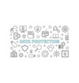 data protection concept outline horizontal vector image