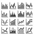 diagram graph and financial chart icons set vector image
