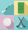 field hockey icons set flat style vector image vector image