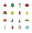 firefighter icons set cartoon vector image vector image