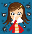 girl has runny nose and viruses around vector image