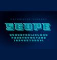 glowing futuristic sci-fi alphabet creative vector image