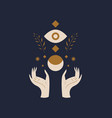 hands holding moon and eye sacred geometry magic vector image vector image