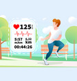 handsome guy run in a urban park with heartrate vector image