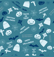 happy halloween blue seamless pattern vector image vector image
