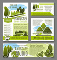 landscape garden design concept posters vector image vector image