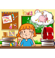Little girl sitting in the classroom vector image vector image