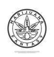 logo mountains with marijuana leaves vector image vector image