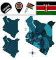 map of kenya with named counties vector image vector image