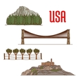 Natural and architecture landmarks of America vector image