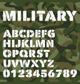 old military alphabet bold letters and numbers on vector image vector image