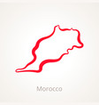 outline map of morocco marked with red line vector image vector image