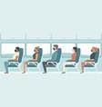 passengers wearing protective medical masks vector image vector image