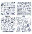 patterns of business things font trees vegetable vector image